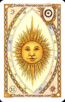 The sun astrological Lenormand Tarot