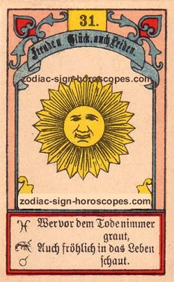 The sun antique Lenormand Tarot